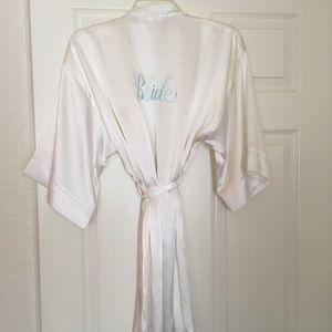 White silky Bride Robe